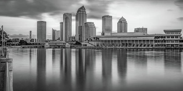 Wall Art - Photograph - Tampa Skyline Panoramic Bay Reflections - Black And White by Gregory Ballos