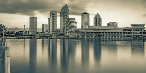 Wall Art - Photograph - Tampa Skyline Panoramic Bay Reflections - Sepia Edition by Gregory Ballos