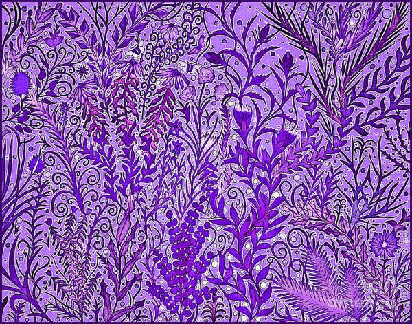 Mixed Media - Tangled Garden In Deep Purple by Lise Winne