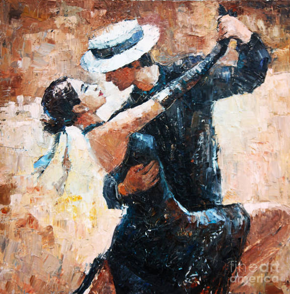 Wall Art - Digital Art - Tango Dancers Digital Painting, Tango by Maria Bo