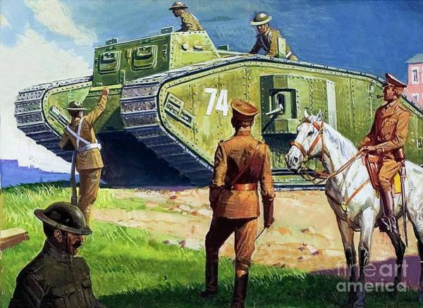 Wall Art - Painting - Tank On The Western Front by Severino Baraldi