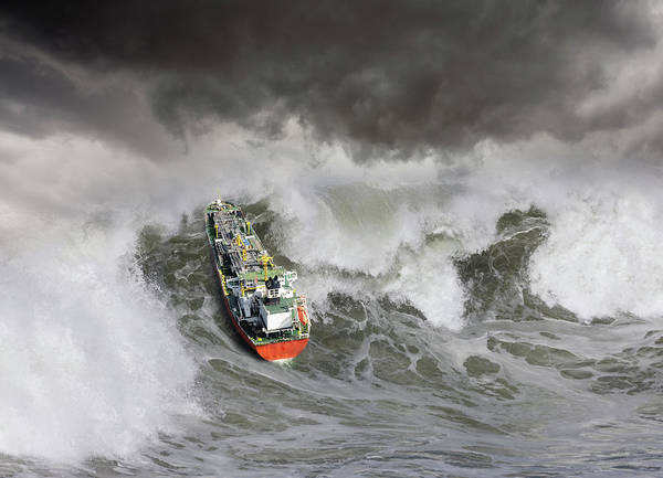 Surf City Usa Photograph - Tanker In Ocean Storm by John Lund