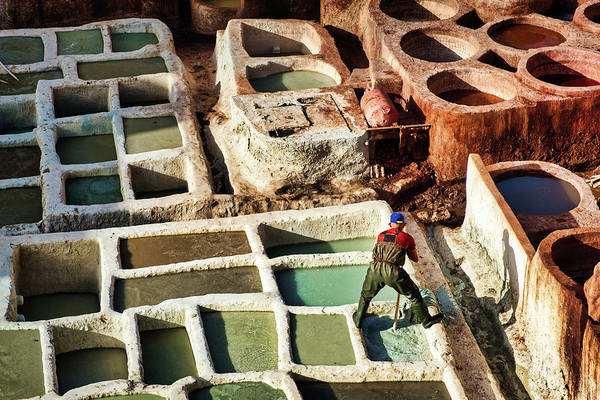Photograph - Tannery Worker #2 - Morocco by Stuart Litoff
