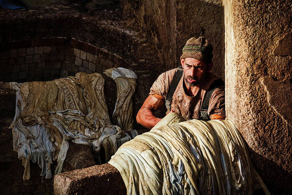 Photograph - Tannery Worker - Morocco by Stuart Litoff