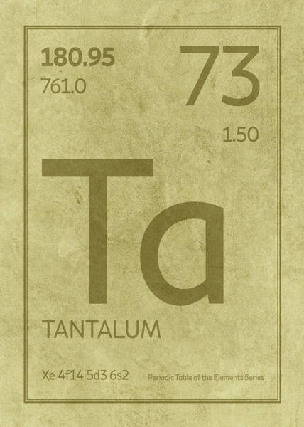 Elements Mixed Media - Tantalum Element Symbol Periodic Table Series 073 by Design Turnpike