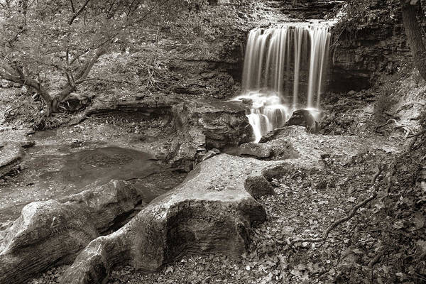 Wall Art - Photograph - Tanyard Falls In Sepia - Bella Vista Arkansas by Gregory Ballos