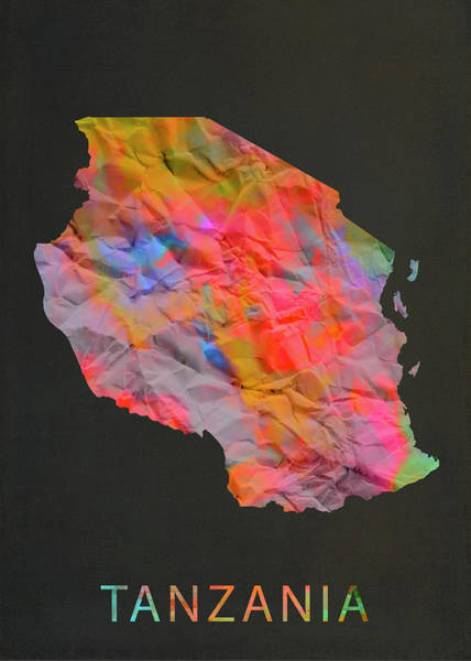 Wall Art - Mixed Media - Tanzania Tie Dye Country Map by Design Turnpike