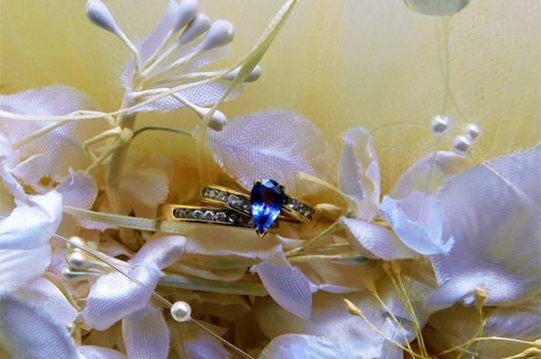 Wall Art - Photograph - - Tanzanite Bridal Ring Set by - Theresa Nye