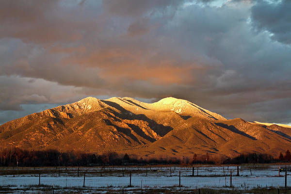 Photograph - Taos Mountain In Winter by Robert Woodward