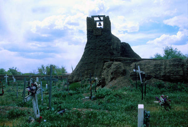 Photograph - Taos Pueblo Cemetery And Bell Tower by Rein Nomm