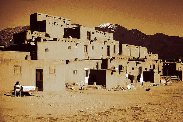 Photograph - Taos Pueblo New Mexico - Vintage Photo Art by Peter Potter