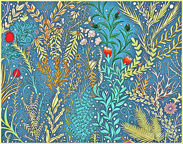 Mixed Media - Tapestry And Home Decor Design In Cerulean Blue And Yellow With Vines, Flowers, And Butterflies by Lise Winne