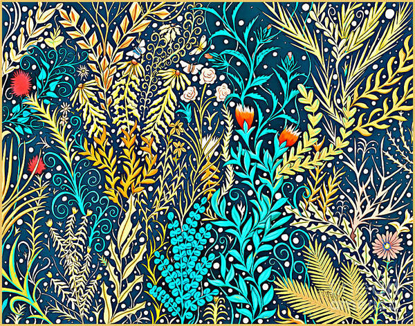 Mixed Media - Tapestry And Home Decor Design In Dark Navy Blue With Yellow And Turquoise Foliage by Lise Winne