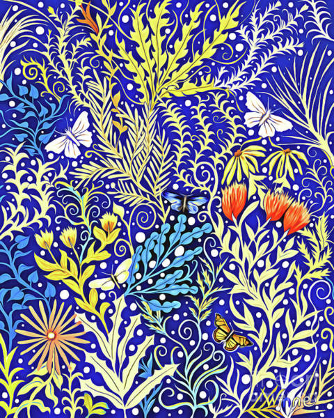 Mixed Media - Tapestry Design In Blue And Yellow With Orange Flowers And White Butterflies by Lise Winne
