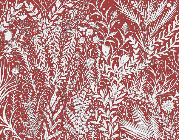 Tapestry - Textile - Tapestry Design In Brick Red And Light Gray With Leaves And Flowers by Lise Winne