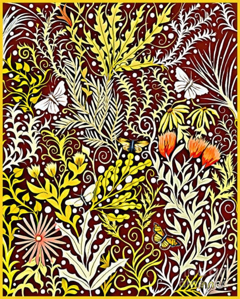 Tapestry - Textile - Tapestry Design With Autumn Colors And White Butterflies by Lise Winne