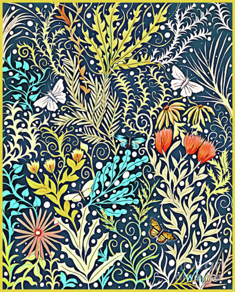 Tapestry - Textile - Tapestry Design, With Butterflies, Autumn Colored Foliage On A Dark Blue Background  by Lise Winne
