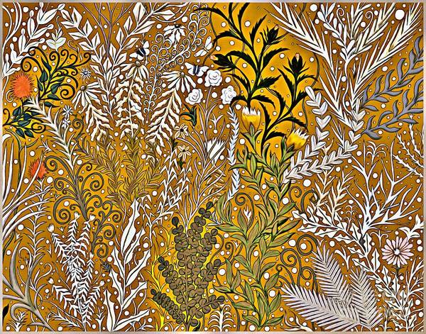 Digital Art - Tapestry Design With Gold And Autumn Colors by Lise Winne