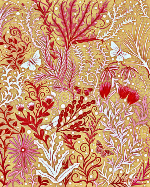 Mixed Media - Tapestry Design With Red And Pink On A Gold Background by Lise Winne