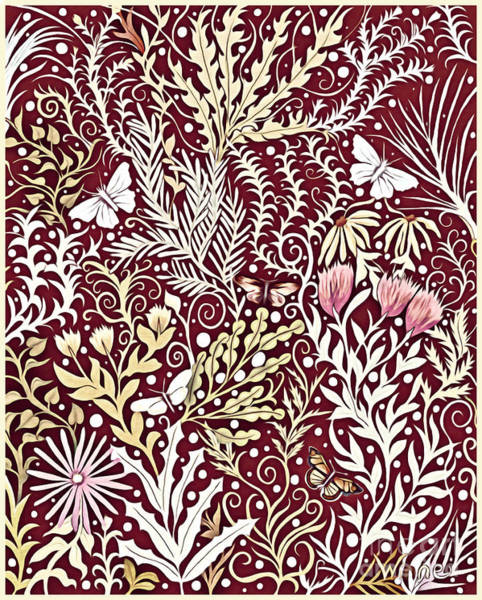 Mixed Media - Tapestry Design, With White Butterflies, In A Deep Rich Red by Lise Winne