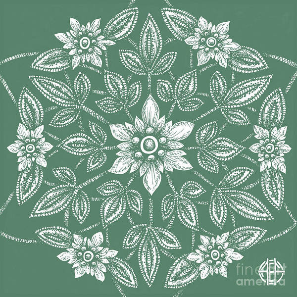 Drawing - Tapestry Square 1 Sea Green by Amy E Fraser