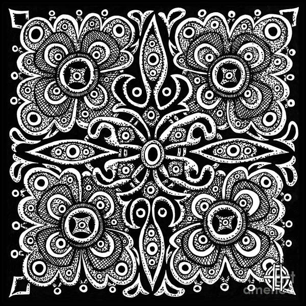 Drawing - Tapestry Square 13 Black And White by Amy E Fraser