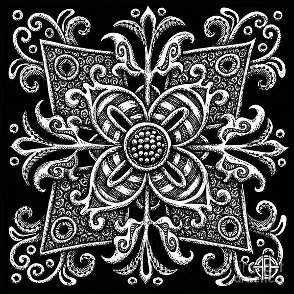 Drawing - Tapestry Square 18 Black And White by Amy E Fraser