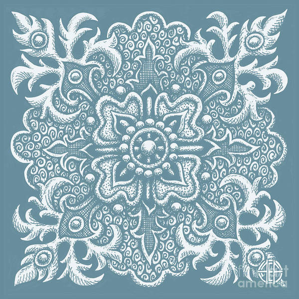 Drawing - Tapestry Square 2 Artifact Blue by Amy E Fraser
