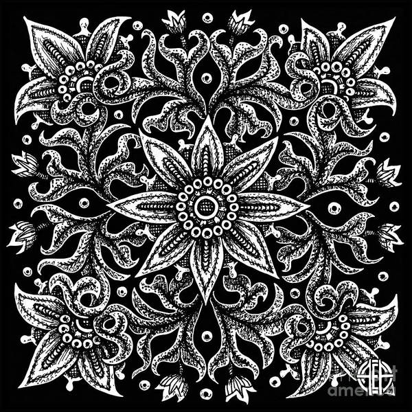 Drawing - Tapestry Square 21 Black And White by Amy E Fraser