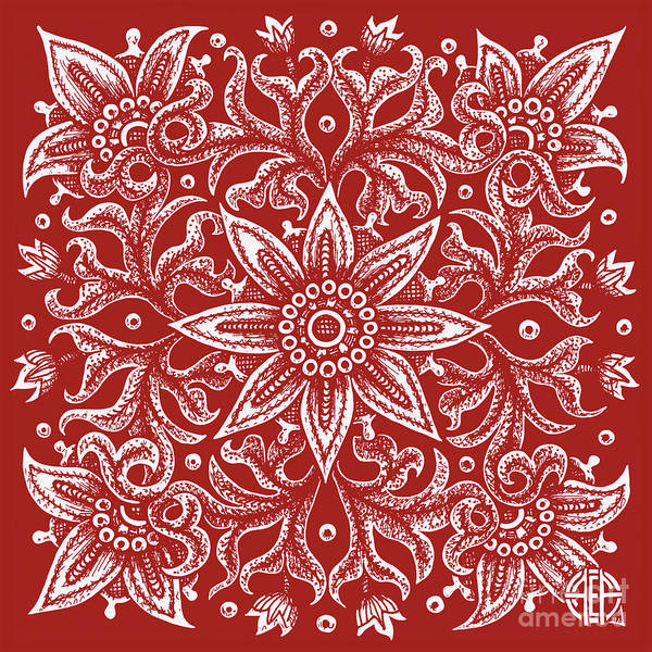 Drawing - Tapestry Square 21 Cherry Red by Amy E Fraser