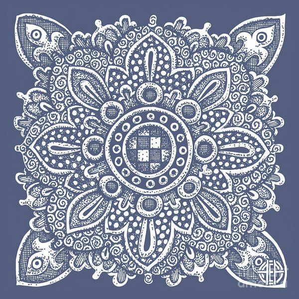 Drawing - Tapestry Square 22 Charcoal Blue by Amy E Fraser