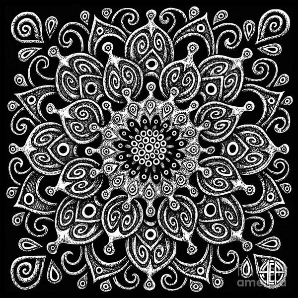 Drawing - Tapestry Square 24 Black And White by Amy E Fraser
