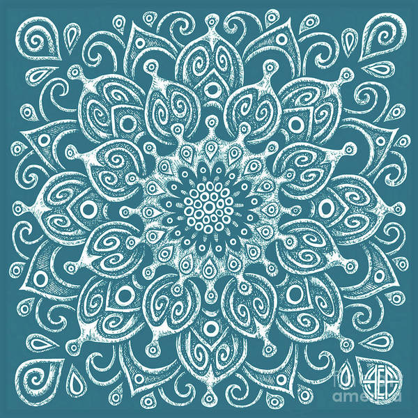 Drawing - Tapestry Square 24 Sea Creature Blue by Amy E Fraser