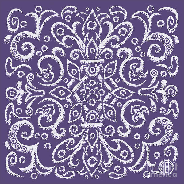 Drawing - Tapestry Square 5 Mystical Purple by Amy E Fraser