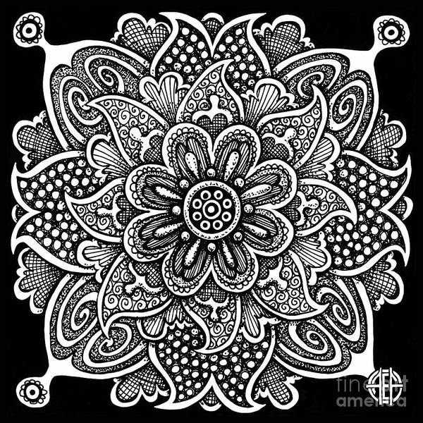 Drawing - Tapestry Square 6 Black And White by Amy E Fraser