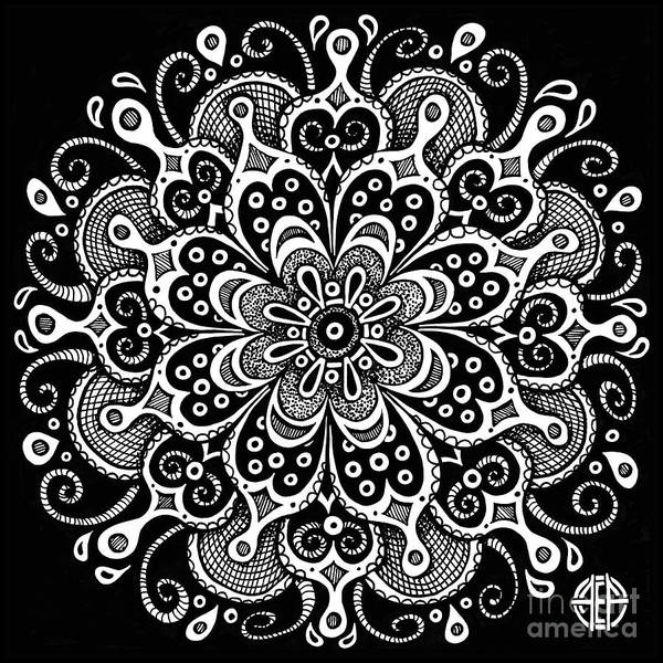 Drawing - Tapestry Square 7 Black And White by Amy E Fraser
