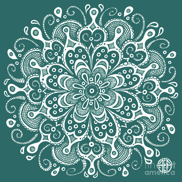 Drawing - Tapestry Square 7 Deep Aqua by Amy E Fraser