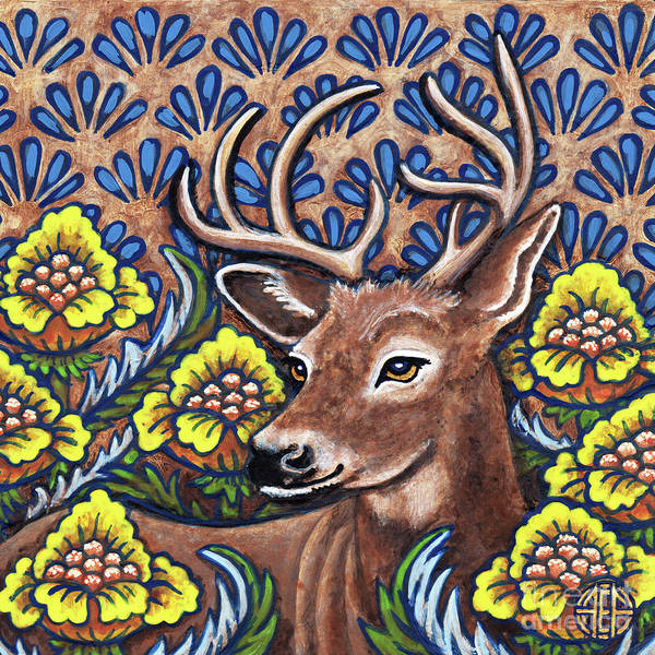 Painting - Tapestry Stag by Amy E Fraser