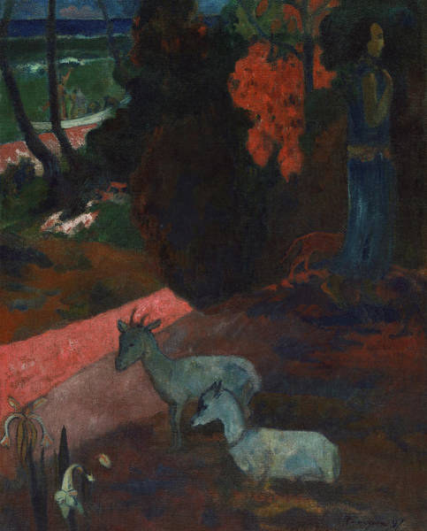 Wall Art - Painting - Tarari Maruru, Landscape With Two Goats, 1897 by Paul Gauguin