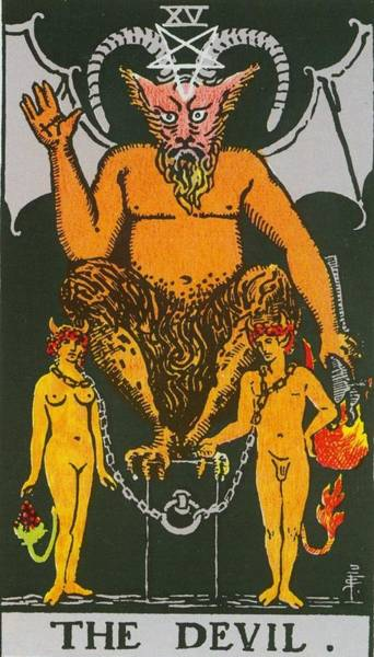 Tarot Deck Digital Art - Tarot Card The Devil by Rider Waite