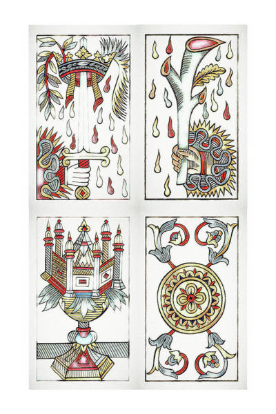 Digital Art - Tarot De Marseille Aces by Pennie McCracken