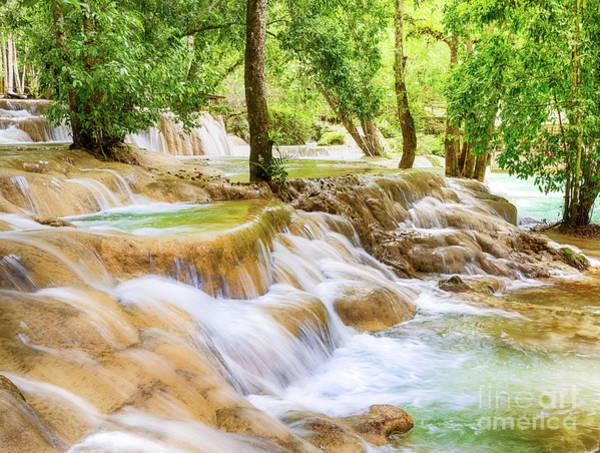 Wall Art - Photograph - Tat Sae Waterfalls. Beautiful Landscape. Laos. by MotHaiBaPhoto Prints