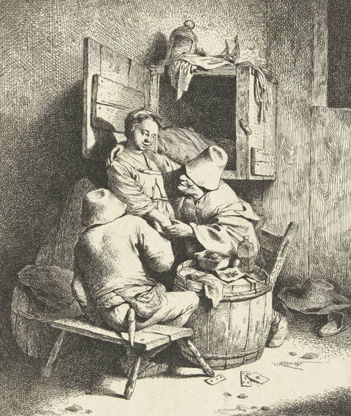 Wall Art - Relief - Tavern Man Caressing A Woman by Cornelis Pietersz Bega