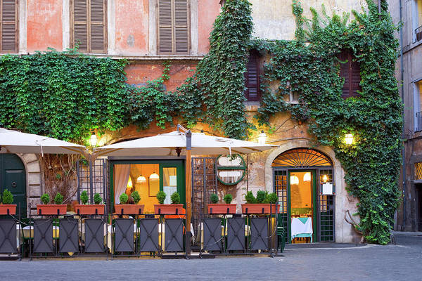 Patio Photograph - Tavern, Rome, Italy by Benedek