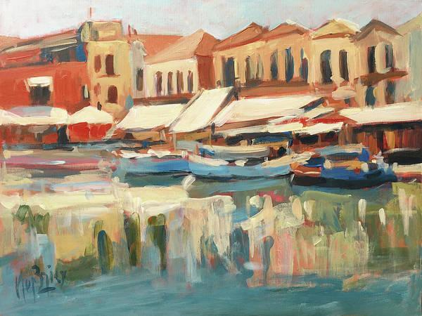 Wall Art - Painting - Tavernas At Rethymnon Port by Nop Briex