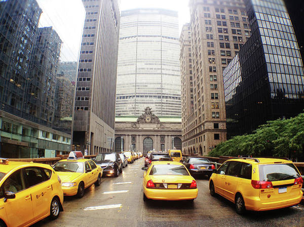 Public Land Photograph - Taxis Outside Of Grand Central Station by William Andrew