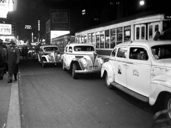 New York State Photograph - Taxis Outside Times Square Theaters At by New York Daily News Archive