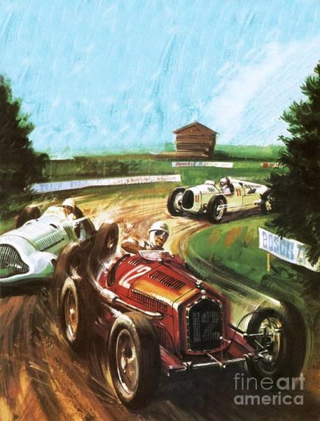Alfa Romeo Painting - Tazio Nuvolari by Graham Coton