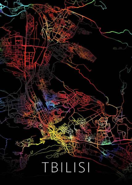 Wall Art - Mixed Media - Tbilisi Georgia Watercolor City Street Map Dark Mode by Design Turnpike