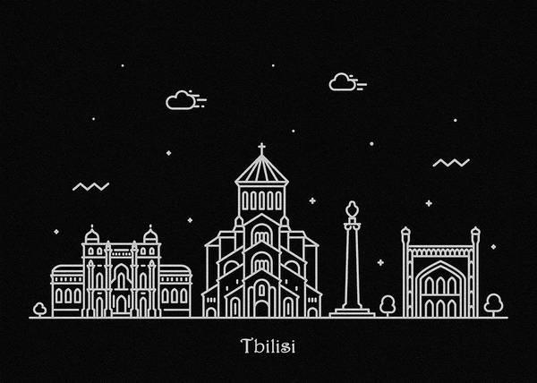Wall Art - Digital Art - Tbilisi Skyline Travel Poster by Inspirowl Design